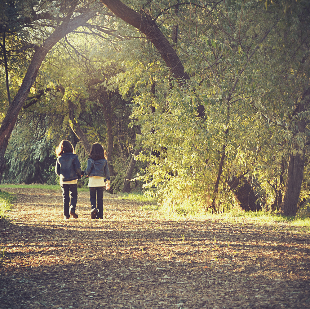 two young girls walking away, side by side, along a tree lined path
